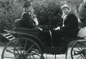 Auf Kutschfahrt, Schützenkönig Werner Hüging und Jungschützenkönig Volker Kram, 1981