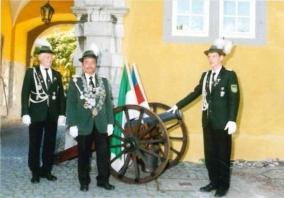 Christoph Hautzel, Schützenkönig 2001 mit seinen Rittern Alexander Keiner und Lothar Dommermuth