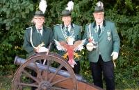 Dietmar Wolf, Schützenkönig 2018 mit seinen Rittern Alfred Hessel (1. Ritter) und Peter Kunst (2. Ritter)